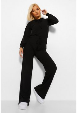 Black Petite Knitted Rib Hoody and Wide Leg Trousers