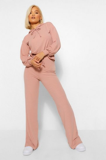 Rose pink Petite Knitted Rib Hoody and Wide Leg Trousers