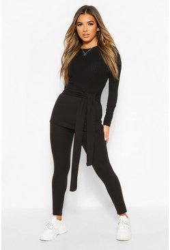 Black Petite Knitted Rib Belted Top and Leggings