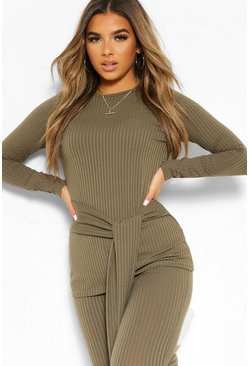 Khaki Petite Knitted Rib Belted Top and Leggings