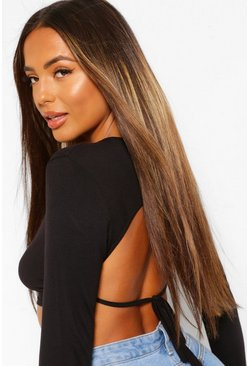 Black Petite High Neck Backless Tie Detail Top