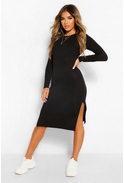 Black Petite Long Sleeve Split Detail Midi T-Shirt Dress