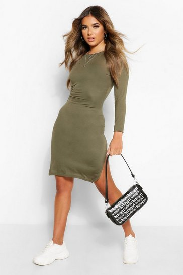 Khaki Petite Long Sleeve Split Detail Midi T-Shirt Dress