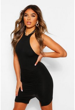 Black Petite High Neck Ruched Detail Mini Dress