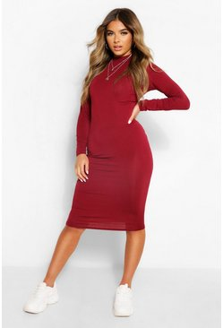 Berry red Petite Roll Neck Long Sleeve Midi Dress