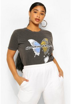 Grey Petite Acid Wash Butterfly Slogan T-Shirt