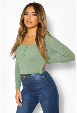 Petite Knitted Button Front Top, Sage vert