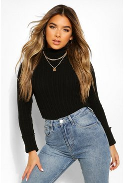 Black Petite Knitted Lettuce Hem High Neck Top