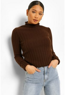 Chocolate brown Petite Knitted Lettuce Hem High Neck Top
