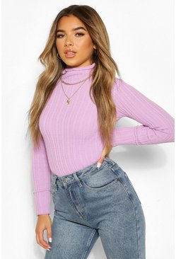 Lilac Petite Knitted Lettuce Hem High Neck Top