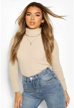 Stone beige Petite Knitted Lettuce Hem High Neck Top