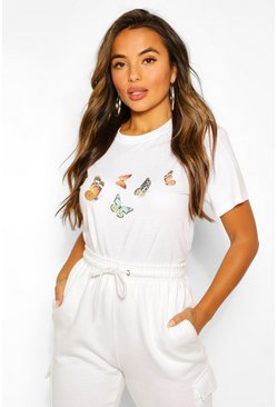 White Petite Butterfly T-Shirt