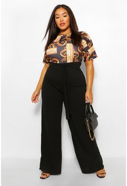 Black Plus Chain Print Contrast Belted Jumpsuit