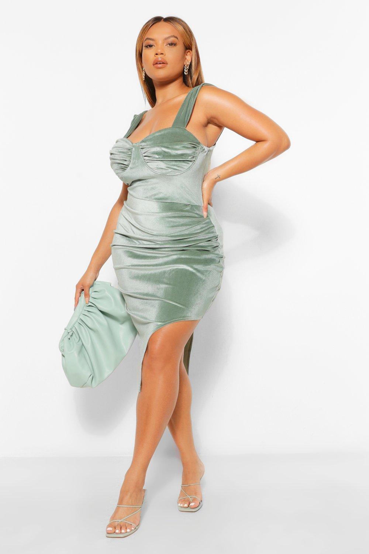 Plus Velour Side Split Midi Dress 8