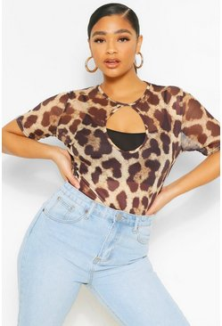 Brown Plus Mesh Cut Out Leopard Bodysuit