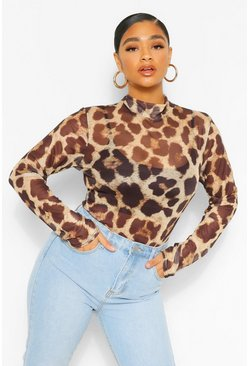 Brown Plus Mesh Leopard High Neck Bodysuit