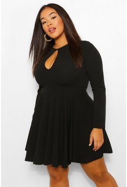 Black Plus Keyhole Long Sleeve Skater Dress