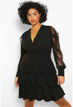 Black Plus Dobby Mesh Tiered Skater Dress