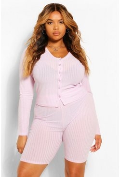 Lilac purple Plus Soft Rib Cardigan And Short Co-ord