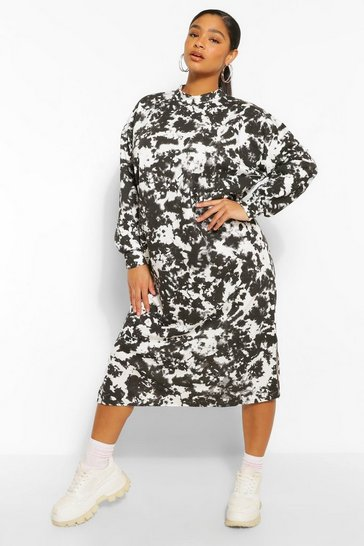 Black Plus Tie Dye Midi Sweat Dress