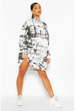 Black Plus Tie Dye Oversized Sweat Dress