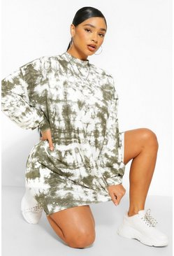 Khaki Plus Tie Dye Oversized Sweat Dress