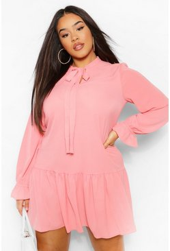 Blush pink Plus Pussybow Ruffle Hem Smock Dress