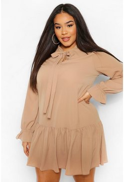 Camel beige Plus Pussybow Ruffle Hem Smock Dress