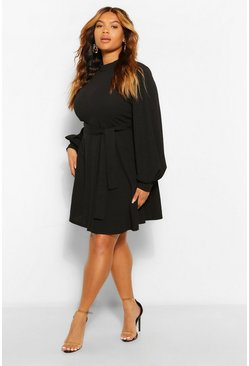 Black Plus High Neck Blouson Sleeve Skater Dress