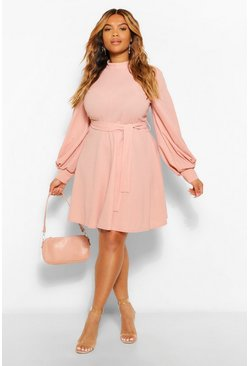 Blush pink Plus High Neck Blouson Sleeve Skater Dress