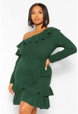 Emerald green Plus Slash Neck Ruffle Wrap Skater Dress