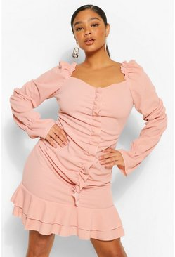 Blush pink Plus Ruffle Detail Long Sleeve Skater Dress