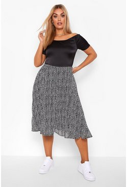 Black Plus Bardot Contrast Leopard Pleated Midi Dress