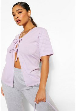 Plus Soft Rib Tie Front Short Sleeve Cardigan , Lilac violett