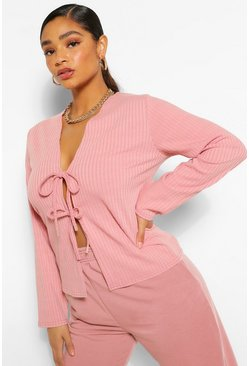Plus Soft Rib Tie Front Caridgan , Blush rosa