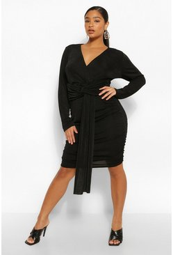 Black Plus Textured Slinky Plunge Drape Mini Dress