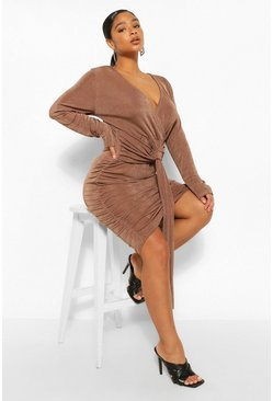 Mocha beige Plus Textured Slinky Plunge Drape Mini Dress
