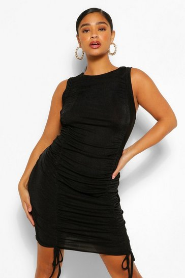 Black Plus Texture Slinky Ruched Bodycon Dress
