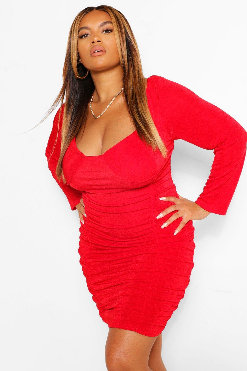 Plus Textured Slinky Ruched Bodycon Dress 8