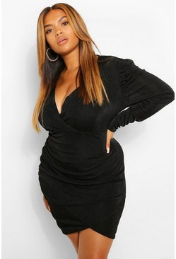 Black Plus Textured Slinky Wrap Bodycon Dress