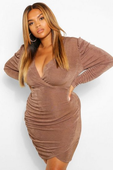 Mocha beige Plus Textured Slinky Wrap Bodycon Dress