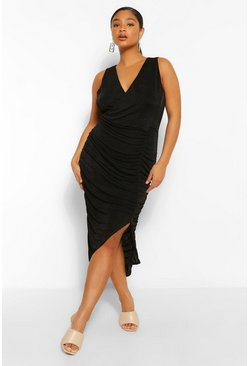 Black Plus Textured Slinky Wrap Midi Dress