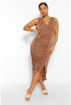 Mocha beige Plus Textured Slinky Wrap Midi Dress