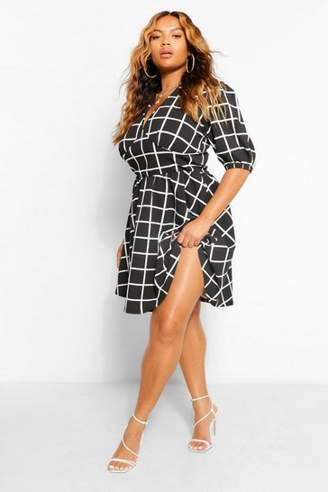 Black Plus Grid Print Plunge Skater Dress