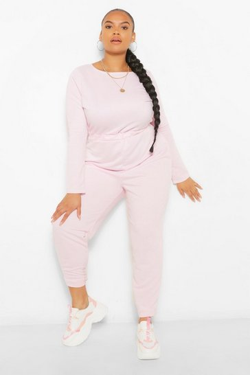 Baby pink pink Plus Crew Neck Long Sleeve Sweat Jumpsuit