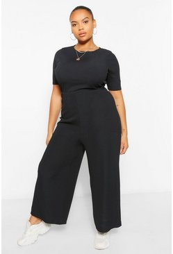 Black Plus Ribbed T-Shirt Jumpsuit
