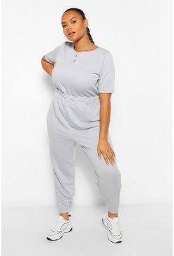 Grey Plus Crew Neck Short Sleeve Sweat Jumpsuit