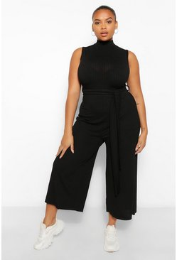 Black Plus Rib High Neck Culotte Jumpsuit