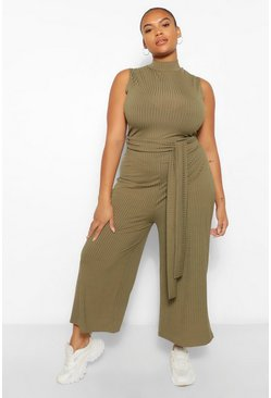 Khaki Plus Rib High Neck Culotte Jumpsuit