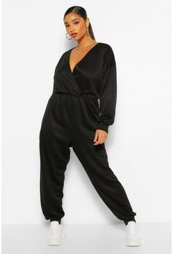 Black Plus Wrap Over Loopback Sweat Jumpsuit